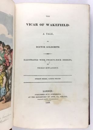 [Rowlandson, Thomas] Three Works in Original Orange Publisher's Cloth: The Vicar of Wakefield; The History of Johnny Quae Genus; Journal of Sentimental Travels in the Southern Provinces of France