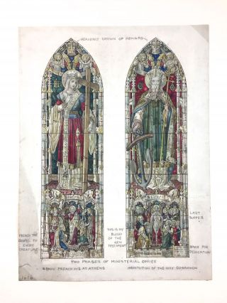 Stained Glass Watercolor Design] Double Panel Watercolor Design for Stained Glass Windows Heavily...
