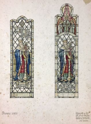 Stained Glass Watercolor Design] Set of Four Watercolor Designs for Stained Glass Windows from...