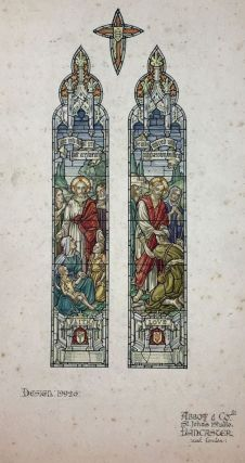 "[Stained Glass Watercolor Design] Set of Four Watercolor Designs for Stained Glass Windows from noted Lancaster Firm, ""Abbott & Co."""