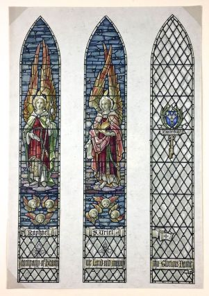 "Stained Glass Watercolor Design] Original Three-Panel Watercolor Design, ""Raphael, S. Uriel,..."