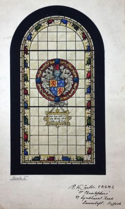 "[Stained Glass Watercolor Design] Watercolor Design by ""E. W. Carter,"" F.B.S.M.G, ""St. Christophers"" 37 Lyndhurst Road, Lowestaft. Suffolk"