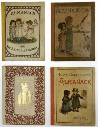 Greenaway, Kate] Mini-Collection of Four Almanacks, Each in Original Printed Dust Wrapper. Kate...