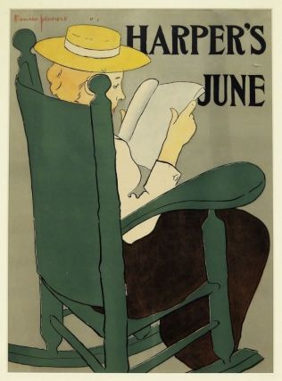 Penfield, Edward] Striking Original Color Printed Color Poster for Harper's June, 1896. Edward...