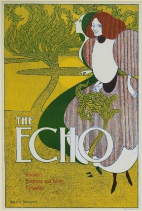Bradley, Will H.] Original Printed Color Poster for The Echo, 1895. Will H. Bradley