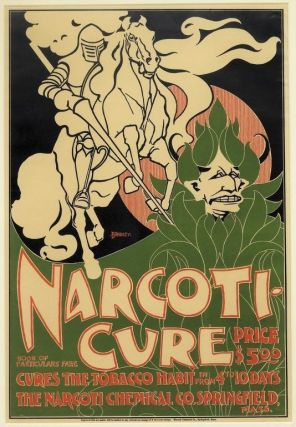 [Bradley, Will H.] Original Printed Color Lithographed Poster for Narocoti-Cure, 1895. Will H. Bradley.
