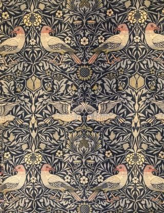 "[Morris & Co.- Original Wall Furnishing] Original Wall Covering As the One in Morris' Kelmscott House Drawing Room: The ""Bird"" Pattern of Jacquard-woven Wool, designed by William Morris for Morris"