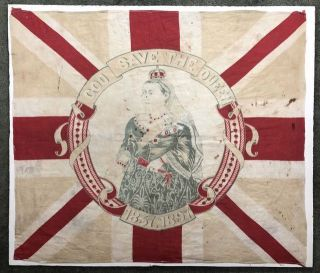 "Victoriana- Textile: Fine Cotton Diamond Jubilee Souvenir Scarf] ""God Save the Queen"