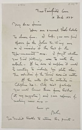Rogers, Bruce] Autograph Letter Signed to Irvin Haas Regarding a Proposed Article on Bookplates....