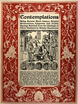 [Roycroft Press- Large Quarto, 100 Copies Only on 3/4 Levant, Fine in Box] Contemplations