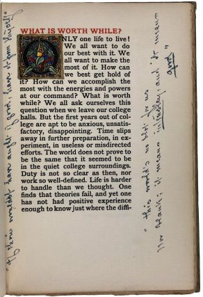 [Cole, Averill- Inscribed to Cole from her Mother, Watercolor designs, Extensive Annotations] What is Worth While?