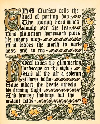 [Craftsman's Guild- Beautifully hand-illumined, Signed by Gregson] An Elegy in a Country Churchyard.
