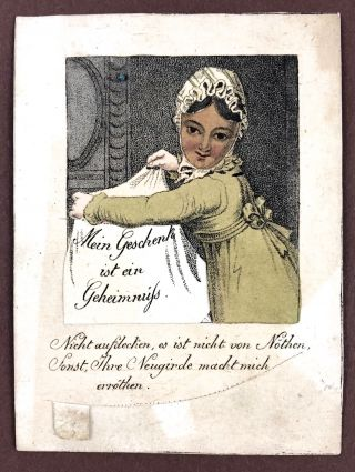 "Billet- Movable, Hand-Colored] ""My Present is a Secret..."" Billet"