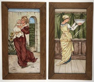 Arts & Crafts- C. D. Salt, Signed 1882] Two double-tile panels, each separately framed