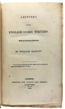 [Hazlitt, William] Lectures on the English Comic Writers