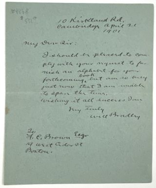 Bradley, Will H.- Autograph Letter Signed] Scarce ALS to Noted Architect, F. C. Brown. Will H....