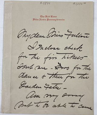 Smith, Jessie Willcox- ALS] Autograph Letter Signed from Jessie Willcox Smith on Red Rose...