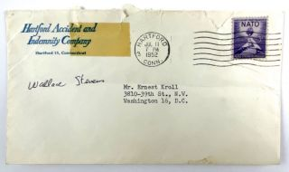 [Stevens, Wallace- Super TLS to Fellow Poet] Subtle, but Respectful Typed Letter Signed from Stevens to Ernest Kroll, Budding Poet and Later Noted Author