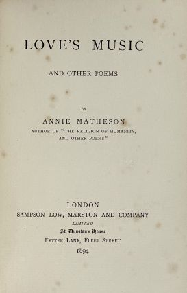 [Binding, Fine- Arts & Crafts] Love's Music and Other Poems