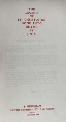 [Cornish Brothers Press Rarity- Arthur Gaskin] The Legend of St. Christopher, Done into Rhyme by J.W.S.