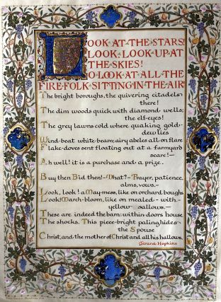 Hopkins, Gerard Manley- ORIGINAL ILLUMINATED MANUSCRIPT OF POEM- FAMILY HEIRLOOM] Original Fully...