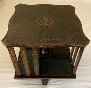 Birkenruth, Johanna] Original Late 19th Century Table-Top Revolving Book Case Hand-Crafted by the...