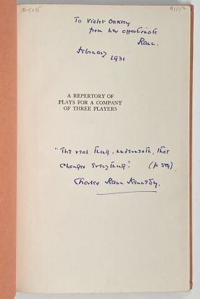 Violet Oakley Interest- Inscribed by Author to Oakley] A Repertory of Plays for a Company of...