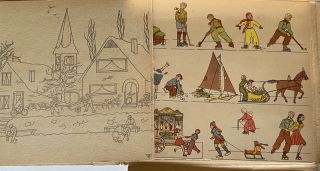 """[Dutch Activity Book] Scarce mid-20th Century Activity Book, """"Een Hollandsch Sprookje"""" With Color Card Examples"""