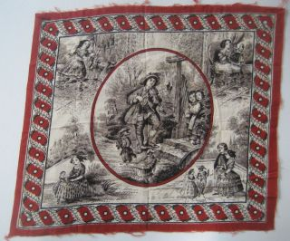 Printed Handkerchief (ca. 1820) Depicting Early 19th Century Scenes. Juvenile Handkerchief: Textiles